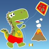 Play kite cartoon vector. Dino playing kite, vector cartoon illustration. EPS 10 Royalty Free Stock Images