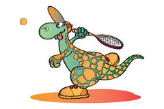 Dino playing Tennis. Funny Dino playing Tennis Illustration Royalty Free Stock Image