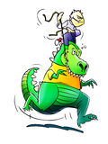 Dino Riding Royalty-vrije Stock Afbeelding