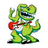 Dino rock plays a guitar. Vector illustration Stock Image