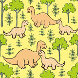 Dino seamless pattern. Childrens colorful seamless pattern with the image of funny dinosaurs Stock Image