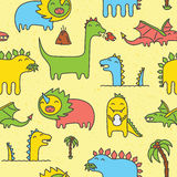 Dino seamless vector pattern yellow Royalty Free Stock Images