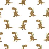 Dino simple brown color seamless vector pattern. Stock Photography