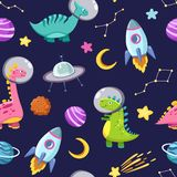 Dino in space seamless pattern. Cute dragon characters, dinosaur traveling galaxy with stars, planets. Kids cartoon royalty free illustration