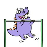 Dino stretches up on the horizontal bar on the sports ground. Vector illustration Royalty Free Stock Images