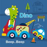 Dino and tow truck funny cartoon,vector illustration. For t shirt or book stock illustration