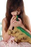 Dino und Mädchen Lizenzfreie Stockbilder