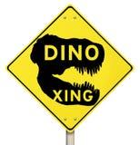 Dino Xing Dinosaur Crossing Yellow Warning vägmärke stock illustrationer