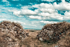Dinogetia fortress. Ruins of the Dinogetia Fortress in Dobrogea region of Romania Royalty Free Stock Photography