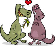 Dinos in love cartoon illustration Stock Photos
