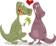 Dinos in love cartoon illustration Royalty Free Stock Photo