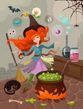 Halloween. Vector illustration of a halloween witch Royalty Free Stock Photo