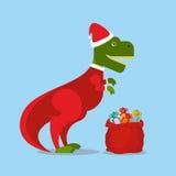 Dinosaur Święty Mikołaj T-Rex w Bożenarodzeniowym kapeluszu tyrannosaurus Obraz Royalty Free