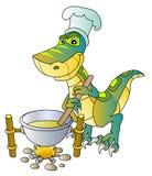 Dinosaur. Funny dinosaur cook; vector illustration Royalty Free Stock Photos