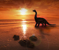Dinosaur. Fantasy dinosaur on prehistoric beach stock photo