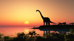 The dinosaur. Giant dinosaur in the background of the colorful sky Stock Photos