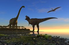 The dinosaur. Giant dinosaur in the background of the colorful sky Stock Image