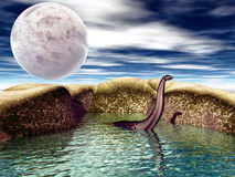 Dinosaur. Fantastic 3d landscape with white big moon & creature in the water Royalty Free Stock Photo