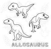 Dinosaur Allosaurus Cartoon Vector Illustration Monochrome Stock Image