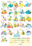 Dinosaur alphabet complete set. Complete set of alphabet with cute dinosaur character,educational for kids Royalty Free Stock Photos