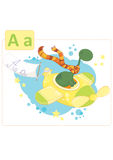 Dinosaur alphabet, letter A from airplane. Sweet dinosaur flying in a yellow airplane Stock Image