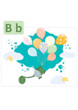 Dinosaur alphabet, letter B from balloons. Cute dinosaur cut up in air with colored balloons and sweet little birds Stock Photos
