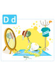 Dinosaur alphabet, letter D from dressing. Cute dinosaur trying up clothes in front of a mirror Royalty Free Stock Photos