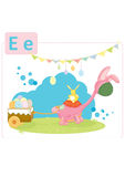 Dinosaur alphabet, letter E from easter. Small dinosaur dressed in pink bunny costume pulling a cart with colored eggs Royalty Free Stock Photos