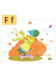 Dinosaur alphabet, letter F from fall. Cute dinosaur playing outside,leaves are falling and wind is blowing Stock Images
