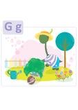 Dinosaur alphabet, letter G from garden. Small dinosaur spending day in the back yard gardening vector illustration