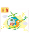 Dinosaur alphabet, letter H from helicopter. Cute small dinosaur in a helicopter with his teddy bear Stock Photography