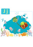 Dinosaur alphabet, letter J from jellyfish. Cute dinosaur diving in sea meats small jellyfishes Royalty Free Stock Photo