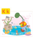 Dinosaur alphabet, letter K from kittens. Funny dinosaur playing with small kittens Stock Photography