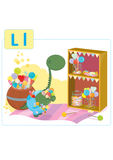 Dinosaur alphabet, letter L from lollipop. Cute small dinosaur in candyshop is very happy from all the lollipops Stock Image