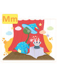 Dinosaur alphabet, letter M from magic. Cute dinosaur performing magic on a stage Stock Images
