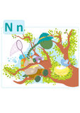 Dinosaur alphabet, letter N from nest. Cute dinosaur on an expedition and sitting on a tree looking at an angry little bird who tries to protect her nest full Stock Image