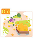 Dinosaur alphabet, letter O from orange. Funny dinosaur running after cart of oranges stock illustration