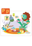 Dinosaur alphabet, letter P from plant. Funny dinosaur scared from overgrown plant Royalty Free Stock Photography
