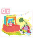Dinosaur alphabet, letter Q from queen. Funny dinosaur watching a puppet show of The Queen Royalty Free Stock Photo