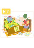 Dinosaur alphabet, letter R from robot. Funny dinosaur reading a bedtime story for a small cute robot Stock Photography