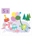 Dinosaur alphabet, letter S from snowman. Cute dinosaur having a birthday party with a snowman Stock Image