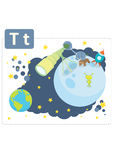Dinosaur alphabet, letter T from telescope. Cute dinosaur in astronaut costume looking in the telescope to Earth Stock Photography