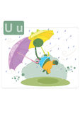 Dinosaur alphabet, letter U from umbrella. Funny dinosaur with two big umbrellas in the rain Stock Photography