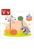 Dinosaur alphabet, letter V from vampire. Cute dinosaur dressed in vampire costume on halloween Royalty Free Illustration