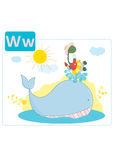 Dinosaur alphabet, letter W from whale. Cute dinosaur on the back of a whale having a lemonade and an icecream Royalty Free Stock Photos