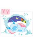 Dinosaur alphabet, letter Y from yeti. Funny dinosaur finds a cute sleeping yeti in a cave Royalty Free Stock Photo