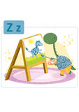 Dinosaur alphabet, letter Z from zebra. Cute dinosaur painting on an easel a zebra Royalty Free Illustration
