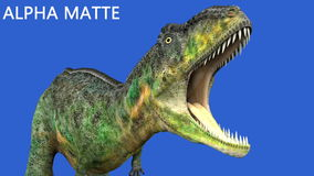 Dinosaur animation on green screen. GI realistic render and motion.  stock video footage