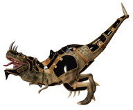 Dinosaur in armour. 3D render of a dinosaur monster in a fantasy armour Stock Photo