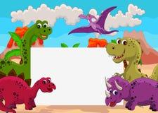 Dinosaur avec le signe blanc Photo libre de droits